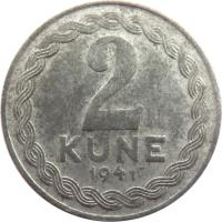 reverse of 2 Kune (1941) coin with KM# 2 from Croatia. Inscription: 2 KUNE 1941