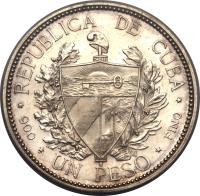 obverse of 1 Peso (1898) coin with KM# A8 from Cuba. Inscription: REPUBLICA DE CUBA UN PESO