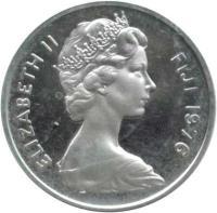 obverse of 1 Cent - Elizabeth II - Silver Proof; 2'nd Portrait (1976) coin with KM# 27a from Fiji. Inscription: ELIZABETH II FIJI 1976