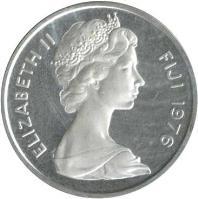 obverse of 2 Cents - Elizabeth II - Silver Proof; 3'rd Portrait (1976) coin with KM# 28a from Fiji. Inscription: ELIZABETH II FIJI 1976