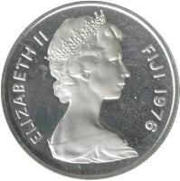 obverse of 10 Cents - Elizabeth II - Silver Proof; 2'nd Portrait (1976) coin with KM# 30a from Fiji. Inscription: ELIZABETH II FIJI 1976