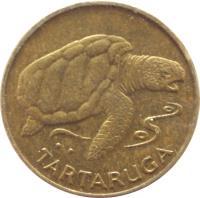 reverse of 1 Escudo (1994) coin with KM# 27 from Cape Verde. Inscription: TARTARUGA