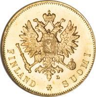 obverse of 10 Markkaa - Alexander II / Nicholas II (1878 - 1913) coin with KM# 8 from Finland. Inscription: S FINLANDSUOMI