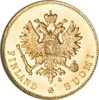 obverse of 10 Markkaa - Alexander II / Nicholas II (1878 - 1913) coin with KM# 8 from Finland. Inscription: S FINLAND	SUOMI
