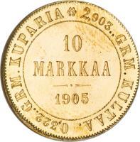reverse of 10 Markkaa - Alexander II / Nicholas II (1878 - 1913) coin with KM# 8 from Finland. Inscription: 0,322..GRM.KUPARIA 2,903..GRM.KULTAA 10 MARKKAA 1913