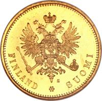 obverse of 20 Markkaa - Alexander II / Nicholas II (1878 - 1913) coin with KM# 9 from Finland. Inscription: L FINLANDSUOMI
