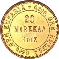 reverse of 20 Markkaa - Alexander II / Nicholas II (1878 - 1913) coin with KM# 9 from Finland. Inscription: 0,645..GRM.KUPARIA 5,806..GRM.KULTAA 20 MARKKAA 1910