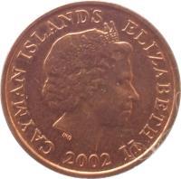 obverse of 1 Cent - Elizabeth II - 4'th Portrait (1999 - 2008) coin with KM# 131 from Cayman Islands. Inscription: CAYMAN ISLANDS ELIZABETH II 2002