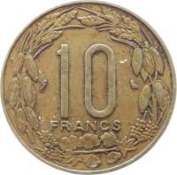 reverse of 10 Francs (1974 - 2003) coin with KM# 9 from Central Africa (BEAC). Inscription: 10 FRANCS