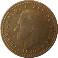 obverse of 1 Peseta - Juan Carlos I - 1982 FIFA World Cup (1980) coin with KM# 816 from Spain. Inscription: JUAN CARLOS I REY DE ESPAÑA 1980