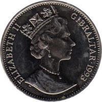 obverse of 1 Crown - Elizabeth II - Stegosaurus (1993) coin with KM# 151 from Gibraltar. Inscription: ELIZABETH II GIBRALTAR 1993