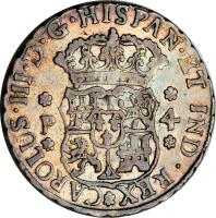 obverse of 4 Reales - Carlos III (1760 - 1771) coin with KM# 26 from Guatemala.