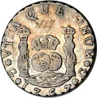 reverse of 4 Reales - Carlos III (1760 - 1771) coin with KM# 26 from Guatemala.