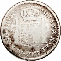 reverse of 1 Real - Fernando VII (1808 - 1821) coin with KM# 66 from Guatemala.