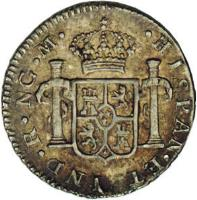 reverse of 1/2 Real - Carlos III (1786 - 1787) coin with KM# 32a from Guatemala.