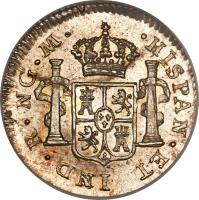 reverse of 1/2 Real - Fernando VII (1808 - 1821) coin with KM# 65 from Guatemala.