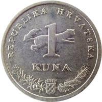 reverse of 1 Kuna - 10'th anniversary of Kuna - Latin text (2004) coin with KM# 79 from Croatia. Inscription: REPUBLIKA HRVATSKA 1 KUNA