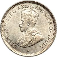 obverse of 4 Pence - George V (1911 - 1916) coin with KM# 28 from Guyana. Inscription: GEORGE V KING AND EMPEROR OF INDIA
