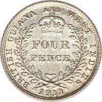 reverse of 4 Pence - George V (1911 - 1916) coin with KM# 28 from Guyana. Inscription: BRITISH GUIANA AND WEST INDIES FOUR PENCE 1911