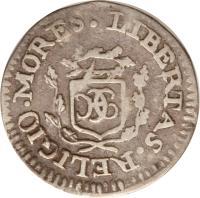 obverse of 7 Sols 6 Deniers (1807 - 1809) coin with KM# 3 from Haiti. Inscription: LIBERTAS. RELIGIO. MORES