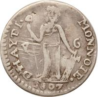 reverse of 7 Sols 6 Deniers (1807 - 1809) coin with KM# 3 from Haiti. Inscription: MONNOIE. D'HAYTI · 1807