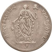 obverse of 1/2 Escalin (1802) coin with KM# 21 from Haiti. Inscription: REPUBLIQUE FRANCAISE