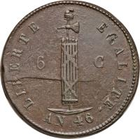 obverse of 6 Centimes (1849) coin with KM# 32 from Haiti.