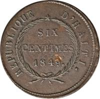 reverse of 6 Centimes (1849) coin with KM# 32 from Haiti.