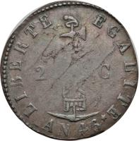obverse of 2 Centimes (1849) coin with KM# 31 from Haiti.