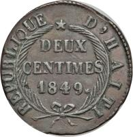 reverse of 2 Centimes (1849) coin with KM# 31 from Haiti.