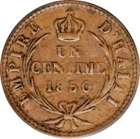 reverse of 1 Centime - Faustin I (1850) coin with KM# 34 from Haiti.