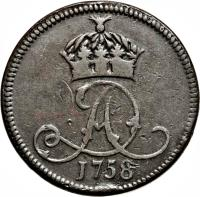 obverse of 1 Penny - James Murray (1758) coin with KM# 7 from Isle of Man. Inscription: 1758
