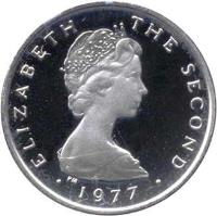obverse of 1/2 Penny - Elizabeth II - FAO: Food For All - Silver Proof; 2'nd Portrait (1977) coin with KM# 40a from Isle of Man. Inscription: ELIZABETH THE SECOND 1977