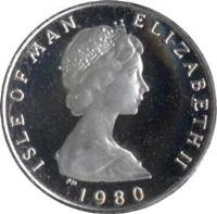 obverse of 1/2 Penny - Elizabeth II - Silver Proof; 2'nd Portrait (1980) coin with KM# 58a from Isle of Man. Inscription: ELIZABETH THE SECOND 1980