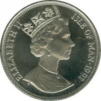 obverse of 1 Crown - Elizabeth II - Princess Diana (1991) coin with KM# 305 from Isle of Man. Inscription: ELIZABETH II ISLE OF MAN · 1991
