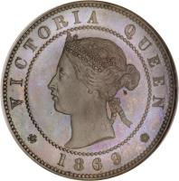obverse of 1 Penny - Victoria (1869) coin with KM# Pn2 from Jamaica. Inscription: VICTORIA QUEEN 1869