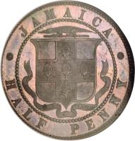 reverse of 1 Penny - Victoria (1869) coin with KM# Pn2 from Jamaica. Inscription: JAMAICA ONE PENNY