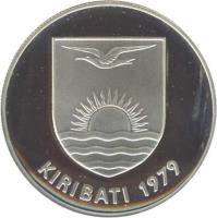 obverse of 5 Dollars - Independence - Silver Proof Issue (1979) coin with KM# 8a from Kiribati. Inscription: KIRIBATI 1979