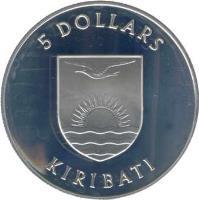 obverse of 5 Dollars - Royal Visit - Silver Proof Issue (1982) coin with KM# 12a from Kiribati. Inscription: 5 DOLLARS KIRIBATI