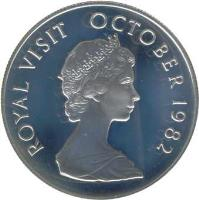 reverse of 5 Dollars - Royal Visit - Silver Proof Issue (1982) coin with KM# 12a from Kiribati. Inscription: ROYAL VISIT OCTOBER 1982