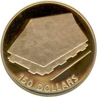reverse of 150 Dollars - Indendence (1979) coin with KM# 9 from Kiribati. Inscription: 150 DOLLARS