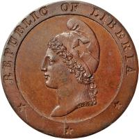 obverse of 1 Cent (1847) coin with KM# 1 from Liberia. Inscription: REPUBLIC OF LIBERIA