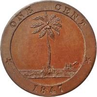reverse of 1 Cent (1847) coin with KM# 1 from Liberia. Inscription: * ONE CENT * 1847