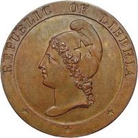 obverse of 2 Cents (1847) coin with KM# 2 from Liberia. Inscription: REPUBLIC OF LIBERIA