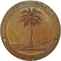 reverse of 2 Cents (1847) coin with KM# 2 from Liberia. Inscription: TWO CENTS 1847