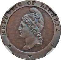 obverse of 1 Cent (1862) coin with KM# 3 from Liberia. Inscription: REPUBLIC OF LIBERIA