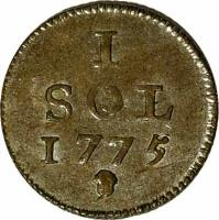 reverse of 1 Sol - Maria Theresa (1775) coin with KM# 6 from Luxembourg. Inscription: 1 SOL 1775