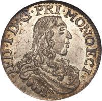 obverse of 5 Sols - Louis I (1662 - 1664) coin with KM# 36 from Monaco. Inscription: · LVD · I · D:G · PRI · MONOECI ·