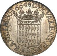 reverse of 5 Sols - Louis I (1662 - 1664) coin with KM# 36 from Monaco. Inscription: DVX · VALENT · PAX · $ · FRANCIƷ&ᶜ.1664