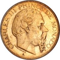 obverse of 20 Francs - Charles III (1878 - 1879) coin with KM# 98 from Monaco.